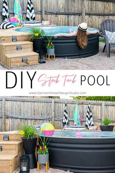 DIY Stock Tank Pool | ©GarrisonStreetDesignStudio | Stock Tank | Pool | DIY | Ideas | Awesome | Deck | Landscaping | Pump | Hidden | Chlorine | Large | Painted | Deck Ideas | Filter | DIY Backyards | Galvanized | Setup | Backyard | Small | Steps | Cost | Black | Design | Patio | Deck Around | Plunge Pool | Spool | Hillbilly Pool | Decorations | Unicorn | Flamingo | Shark Fin | LLama | Float | Metal | Where to Buy | 8ft | Yard | String | Lights | Seating | Bench | Summer | Oasis | Round Stock Pools, Stock Tank Pool, Piscina Diy, Metal Pool, Pool Diy, Backyard Patio, Backyard Ideas, Pool Ideas, Gardens