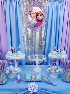 58 ideas birthday theme party ideas for girls Frozen Birthday Decorations, Elsa Birthday Party, Frozen Birthday Theme, Frozen Themed Birthday Party, Disney Birthday, 3rd Birthday Parties, 2nd Birthday, Frozen Balloon Decorations, Birthday Ideas