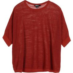 Dkny Short Sleeve Jumper ($73) ❤ liked on Polyvore featuring tops, sweaters, rust, red jumper, dkny, short sleeve tops, red short sleeve top und short sleeve sweater