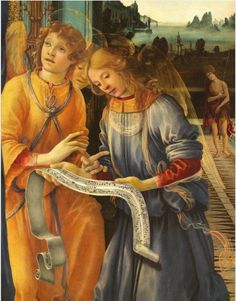 """MusicArt """"Virgin with Child and Angels"""" (detail), also known as """"Tondo Corsini"""", is one of the masterpieces by Filippino Lippi (Prato, circa 1457 - Florence 18 April 1504). The technique is paint on wood and preserved in the Cassa di Risparmio di Firenze. The """"tondo"""" is the largest of the Italian Renaissance and, perhaps, the most beautiful.  The Virgin Mary is accompanied of three angels with a music sheet. ."""