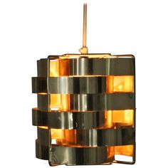 Scarce brass colored cube pendant lamp by Max Sauze