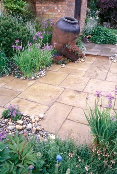 Stone patio with rus