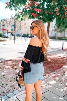 Off Shoulder Bluse, Off The Shoulder, Hippie Style, Hippie Boho, Casual Chic, Bag In Bag, Outfit Zusammenstellen, Jeans Rock, Love Her Style