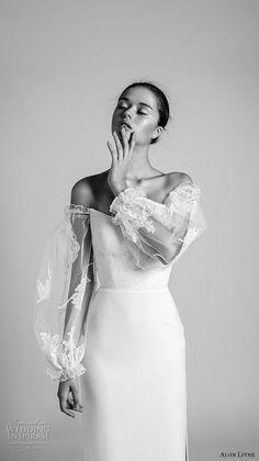 alon livne 2018 bridal off the shoulder long sleeves v neck lightly embellised bodice side slit skirt elegant sheath wedding dress (6) mv