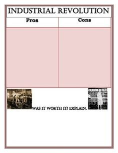 pros and cons of the industrial revolution essay Before the industrial revolution, technology was considered to be a candle, or a horse and buggy but after coal was discovered and machines of all sorts w.