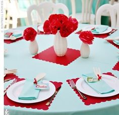 One of my favorite color combinations is Red and Teal. So, I feel in love with this very cute Retro Housewives Bridal Shower from Party Spo. Party Decoration, Reception Decorations, Deco Table, A Table, Picnic Table, 1950 Diner, Red Bridal Showers, Wedding Showers, Baby Showers