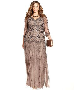 Pisarro Nights Plus Size Three-Quarter-Sleeve Beaded Gown - Plus Size Dresses - Plus Sizes - Macy's | At your next formal event, accentuate your style in this elegant plus size gown beautifully decorated with patterned beads from Pisarro Nights. | Rayon; lining: polyester, Spot clean only | $209 (not in my size right now) love the Oyster color and bodice details