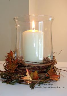 Metal Leaf Fall Candle With Tutorial Www Creativedestinationsguide Home Decorfall