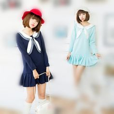 S/M/L Kawaii Sailor Collar Pleated Dress SP164893