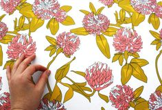 """White Floral fabric """"Clover Flower - Pink""""  Home Decor Fabric - 1 yard- ships in 7 days"""