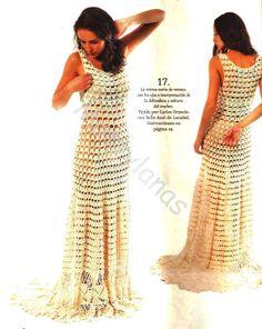 Crochet summer wedding dress ♥LCW-MRS♥ with diagrams, instructions in Spanish. i would add more details, it's to plain for me --- Crochetemoda: Vestido Longo de Crochet