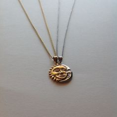 Sun & Moon 2 Necklace Set in Sterling Silver 18K by CityofJewelz