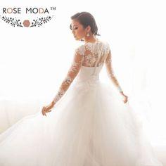 High Neck Long Lace Sleeves Princess Tulle Wedding Ball Gown Vestidos de Noiva