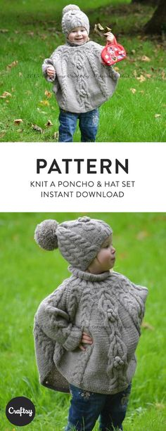 The temptation poncho and hat knitted set is stylish and super cosy clothing for your little one. It is designed to keep your little one away from wind and cold. Get the pattern at Craftsy!