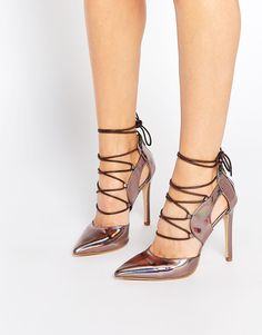 Image 1 ofDaisy Street Oil Slick Pointed Toe Ghillie Heeled Shoes