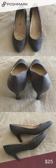 Grey Suede Pumps! Worn once! Grey suede heels worn once! Just not me...flats kinda girl 👍🏼 Unisa Shoes Heels