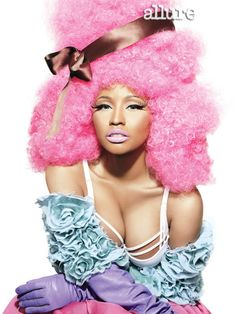 Nicki Minaj Allure Magazine.     Gets Nicki Minaj's unforgettable look using Boot Black Liquid Eye Liner, Blanc Type and Cork Eye Shadow, finishing off with the always dramatic 44 Lash. For Cheeks and Lips, use Pink Swoon Powder Blush, and finally the perfect baby pink Saint Germain Lipstick.