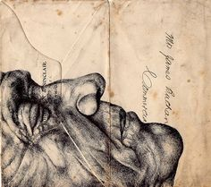 Portfolio - Mark Powell Biro Drawings - (Bic biro pen drawings on antiques envelopes, maps, and newspapers dating back to 1813)