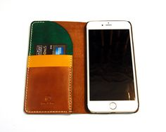 Leather iPhone 6 Plus wallet. Handmade iPhone by RitsandRits