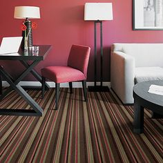 Irresistible texture and freewheeling color are combined in this dynamic patterned carpet. Made of 100% Antron® Legacy nylon and available in seven colors, Confections is a sweet treat for contemporary fashion interiors.