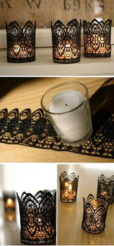 lace covered candles