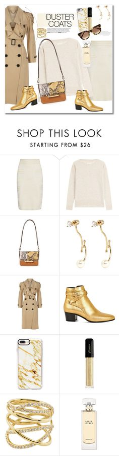 """""""Get the look Duster Coats"""" by vkmd ❤ liked on Polyvore featuring Alexander McQueen, Zadig & Voltaire, Jason Wu, Chloé, Burberry, Yves Saint Laurent, Casetify, Guerlain, Lana and Ralph Lauren"""