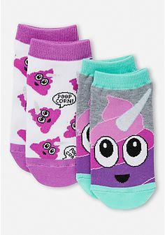 2 Pack Purple Unicorn Emoji Socks
