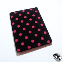 Kindle Paperwhite / Nook Touch / iPad Mini / Kobo / Nook Tablet / Custom eReader Case Cover - Soft Corduroy Hot Pink Polka Dots on Black