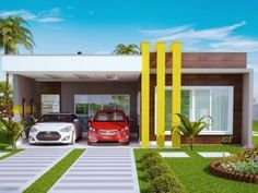 You searched for - Plantas de Casas One Floor House Plans, Modern House Plans, Modern House Design, Modern Houses, House Without Garage, Garage House, Car Garage, Modern Architectural Styles, Modern Minimalist House