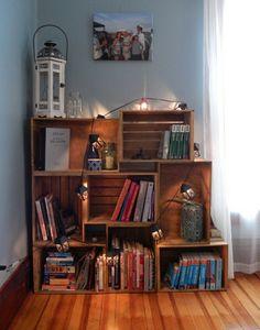 Wine boxes bookshelves lanterns