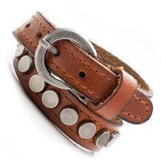 Vintage Brown Urban Snake Mens Leather Bracelet Cuff | RnBJewellery