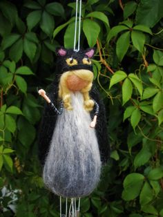 Cat spirit, cat totem, wind chimes, needle felted