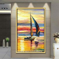 Cheap Painting  Calligraphy, Buy Quality Home  Garden Directly from China Suppliers:Canvas oil painting caudros decoracion boat sailing yacht acrylic painting wall art picture for living room home decor quadros05 Enjoy ✓Free Shipping Worldwide! ✓Limited Time Sale✓Easy Return. Living Room Pictures, Wall Art Pictures, Oil Painting Abstract, Abstract Canvas, Cheap Art, Cheap Paintings, Hand Painted Canvas, Rooms Home Decor, Living Room Paint