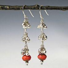 Two Tone Czech Glass Earrings with Silver Pyrite Tiers - Jingle Bells