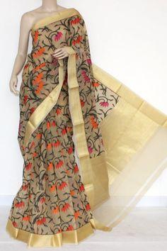 Fawn Banarasi Kora Cot-Silk Handloom Embroidered Saree (With Blouse) 16146