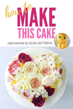 How to make Valentine's Day buttercream flower cake - Cake decorating tutorial by Olga Zaytseva. Learn how to pipe variety of roses and create this heart shaped buttercream flower bouquet cake for Valentine's Day celebration. #cakedecorating #cakedecoratingtutorial #buttercreamflowercake #buttercreamflowers