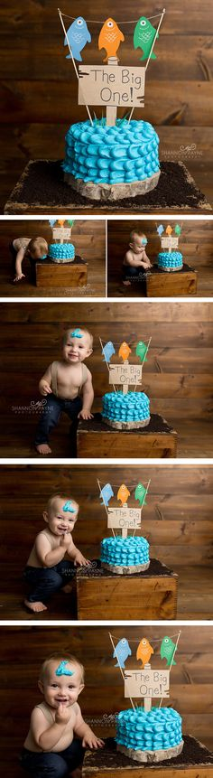 Nashville Cake Smash Photographer, boy cake smash, fish cake smash, the big one cake smash