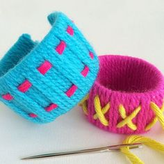 Toilet Roll Bracelets - yarn wrapping and weaving fun for kids