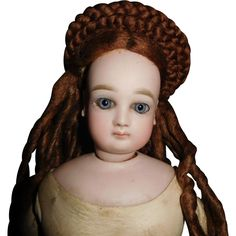 17'' Antique Portrait Jumeau French Fashion Doll With Marked Kid Body from ow on Ruby Lane