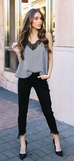 gray tank top, black denim jeans, pair of black pointed-toe heels outfit Cute Winter Outfits, Simple Outfits, Casual Outfits, Cute Outfits, Tank Top Outfits, Heels Outfits, Black Pointed Toe Heels, Black Denim Jeans, Grey Tank Top