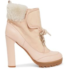 REDValentino  Shearling-trimmed suede and leather platform ankle boots (345 CAD) ❤ liked on Polyvore featuring shoes, boots, ankle booties, suede ankle boots, suede booties, laced up ankle boots, ankle boots and platform booties