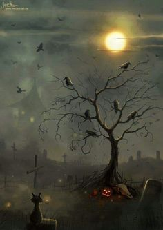 Want to discover art related to halloween? Check out inspiring examples of halloween artwork on DeviantArt, and get inspired by our community of talented artists. Halloween Vintage, Casa Halloween, Image Halloween, Samhain Halloween, Halloween Pictures, Halloween Cards, Holidays Halloween, Happy Halloween, Halloween Decorations