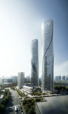 Shimao Riverfront Mixed-Use —The Gateway of Wisdom by EID Architecture China Architecture, Plans Architecture, Architecture Visualization, Amazing Architecture, Architecture Design, Mix Use Building, High Rise Building, Building Design, Building Building