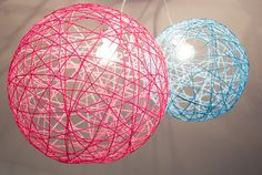 Yarn orb light fixtures...love for a kids room