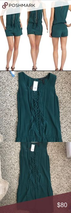 NWT BCBG emerald green romper with fringe Emerald green silk romper with fringe!! Also has pockets. Never been worn. Still has tags on it. BCBG Other