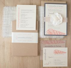 Seashell motifs and soft peaches and grays add a fresh take to the modern destination wedding soiree.