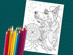 WOLF and other animals single coloring page digital Wolf Colors, Mandala Coloring Pages, Coloured Pencils, Printable Coloring Pages, Beautiful Dogs, Dog Art, Hand Coloring, Craft Projects, Moose Art