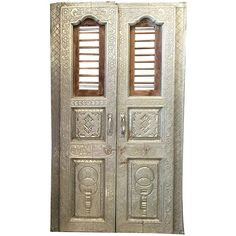 Vintage Antique Doors White Metal Architecture India Panel Unique... ($2,499) via Polyvore featuring home, furniture, storage & shelves, cabinets, indian, metal storage cabinets, white furniture, door cabinet, white storage cabinet and white cabinet