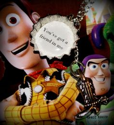 Toy Story Woody and Buzz 'You've got a friend in me' mini bottle cap Necklace