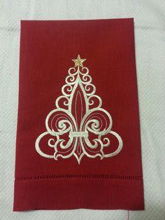 CHRISTMAS TREE FLEUR DE LIS LINEN KITCHEN TOWEL
